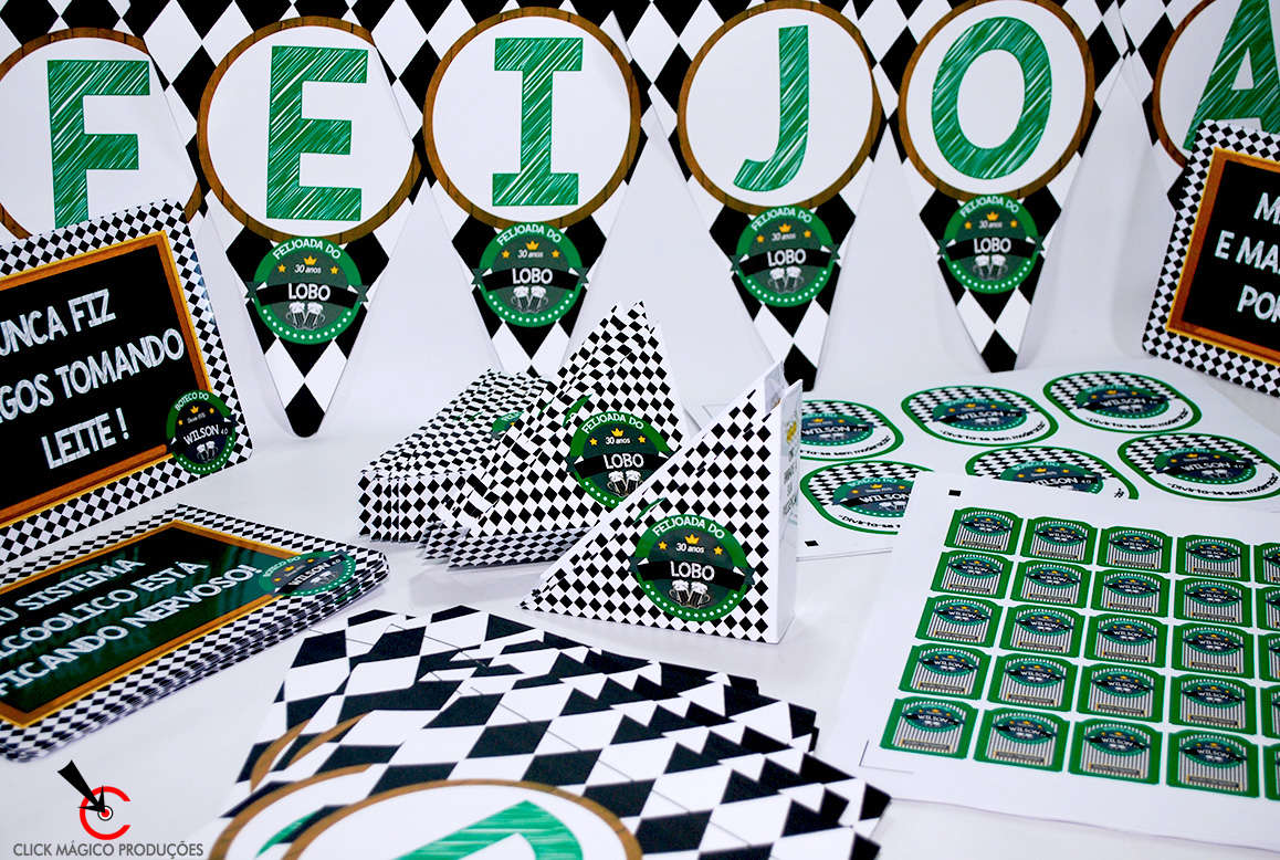 Suficiente Kit Boteco Verde Branco 2 Papelaria Personalizada IH91