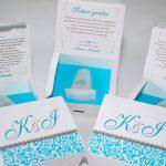 convite com monoculos azul turquesa