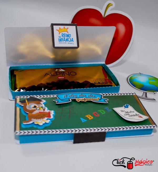 caixa para barra de chocolates Dia dos professores