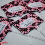 chá de lingerie rosa e preto arabesco