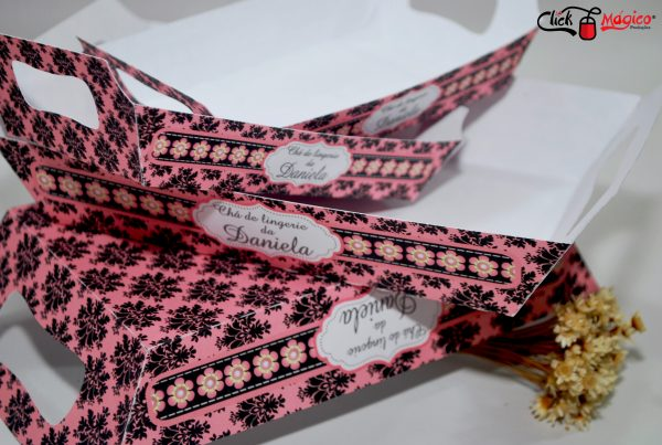 porta salgados preto e rosa chá de lingerie