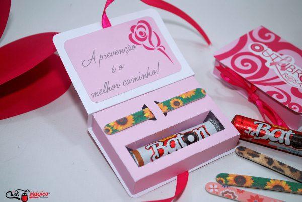 caixinha para chocolates Outubro Rosa